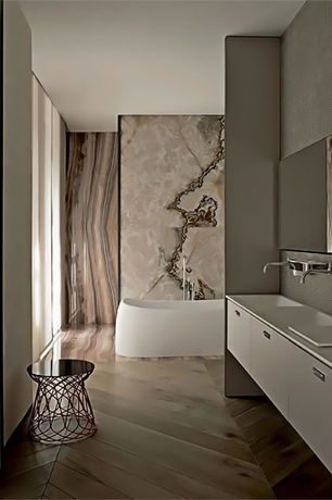 Contemporary Master Bathroom with Standard height, Pental - Sequoia Brown Satin Quartzite, Built-in bookshelf