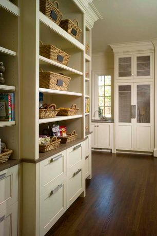 Contemporary Pantry with Glass panel cabinets, Target smith & hawken basket with chalkboard, Paint, Built-in bookshelf
