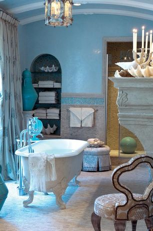 Traditional Master Bathroom with Clawfoot, Elite tile Shore Natural Shell Mosaic Tile in White, Rain shower, Master bathroom