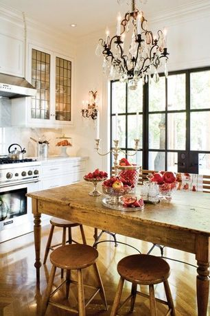 Traditional Kitchen with Flush, French doors, Crown molding, Glass panel, Raised panel, Scrubbed pine table, Wall sconce