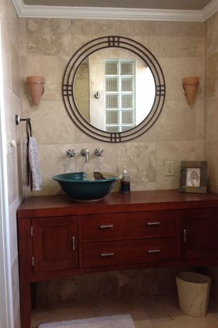 Eclectic Full Bathroom with Wall sconce, Casement, Shower, Inset cabinets, European Cabinets, Crown molding, Wood counters