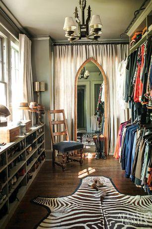 Traditional Closet with Built-in bookshelf, Crown molding, Chandelier, Standard height, double-hung window, Hardwood floors
