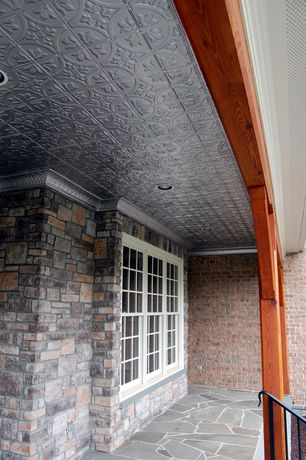 Traditional Porch with Dimensions 2 ft. x 2 ft. white tin ceiling tile for refacing in t-grid systems