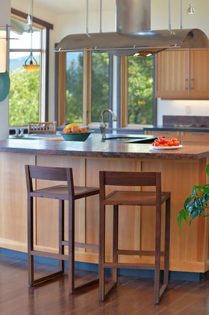 Contemporary Kitchen with Flush, Breakfast bar, Pendant light, Hardwood floors, U-shaped, Slate counters, Undermount sink