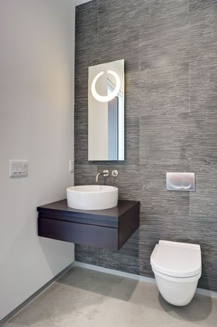 Contemporary Powder Room with Powder room, Concrete floors, Toto Wall-Hung Toilet, Vessel sink, Flush, Wood counters