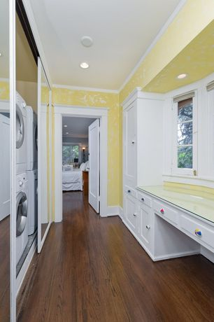 Traditional Laundry Room with Hardwood floors, Crown molding