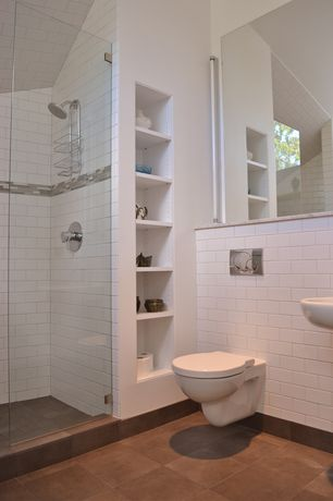 Contemporary 3/4 Bathroom with Wall mounted sink, Daltile rittenhouse square white 3 in. x 6 in. modular wall tile, Bidet