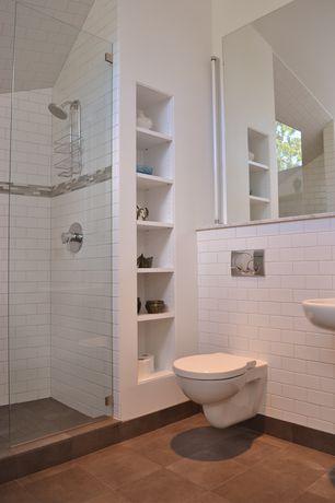 Contemporary 3/4 Bathroom with frameless showerdoor, three quarter bath, Standard height, Paint, Undermount bathroom sink