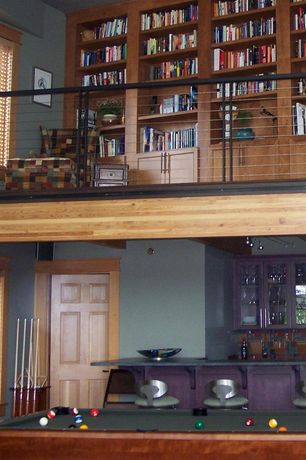 Contemporary Game Room with Built-in bookshelf, High ceiling, Loft, Pendant light