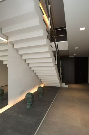Contemporary Staircase with Loft, Metal staircase, French doors, Concrete floors