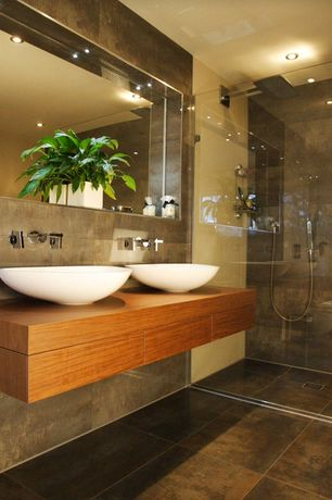 Contemporary Master Bathroom with Signature Hardware - Phelan Vessel Sink, Vessel sink, Double sink, European Cabinets, Flush