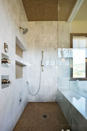 Contemporary Master Bathroom with Handheld showerhead, Pental aspen honed marble, Shower, three quarter bath, Standard height