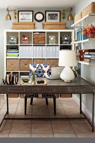 Traditional Home Office with travertine tile floors, Ikea kallax shelving unit, white, Ikea knipsa basket, Built-in bookshelf
