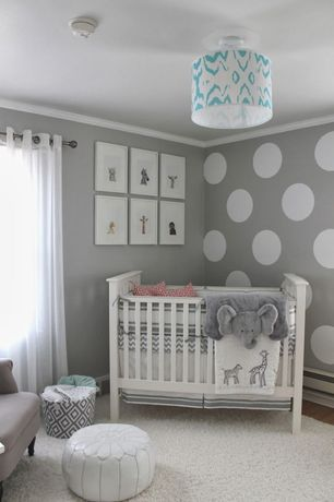 Transitional Kids Bedroom with Crown molding, Hardwood floors, Casablanca Leather Pouf White, interior wallpaper, flush light