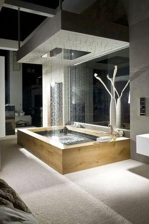 Contemporary Master Bathroom with Large led rain shower sets faucet double waterfall shower super shower heads, Carpet