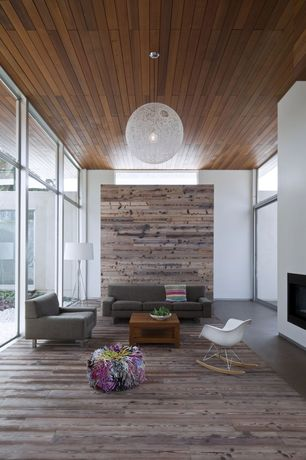 Modern Living Room with Moooi random light pendant, Hardwood floors, Pendant light