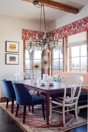 Contemporary Dining Room with Paint, Elan furniture loft parsons style solid wood dining table, Casement, High ceiling
