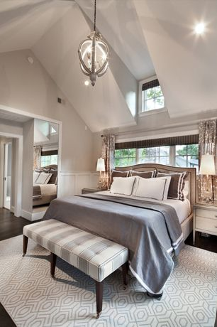 Contemporary Master Bedroom with Nail Head Trim Upholstered Headboard, Chandelier, Wainscotting, Vaulted ceiling, Paint