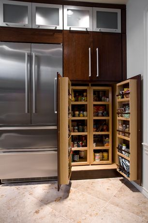 Contemporary Pantry with Paint 1, TK253 - Modern Metro Pull 12in., stone tile floors, travertine tile floors, Standard height