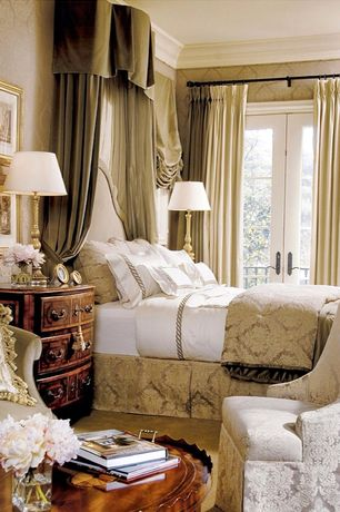 Traditional Master Bedroom with Standard height, Crown molding, interior wallpaper, Carpet, French doors