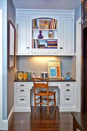 Traditional Home Office with Hardwood floors, Armstrong Maple Autumn Spice 4 in. Solid Hardwood Plank, Built-in bookshelf
