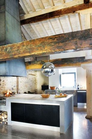 Contemporary Kitchen with Concrete tile , U-shaped, Pendant light, Concrete counters, Exposed beam, Columns, Farmhouse sink