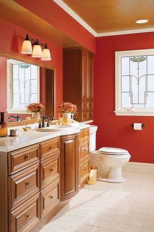 Traditional Powder Room with Flush, Powder room, Crown molding, Raised panel, Limestone counters