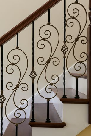 Traditional Staircase with Hollow Large Scroll Baluster, Walnut 6710 Solid Handrail