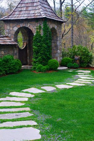 Traditional Landscape/Yard with Natural stone wall, Saloon door, Arched doorway, Flagstone path, Gate, exterior stone floors