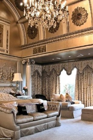 Traditional Master Bedroom with Crown molding, Cathedral ceiling, Exposed beam, Columns, Carpet, Chandelier