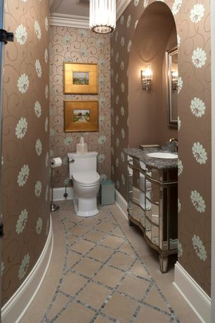 Traditional Powder Room with Crown molding, Standard height, Benjamin rugs & furniture - devera mirrored console, Powder room