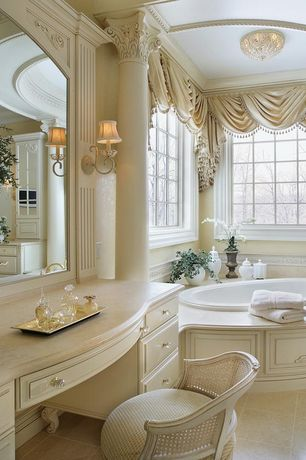 Traditional Master Bathroom with Raised panel, drop in bathtub, Crown molding, stone tile floors, Master bathroom, Flush