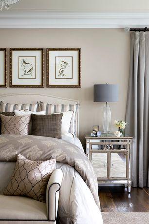 Contemporary Master Bedroom with Standard height, Hardwood floors, Crown molding, Chandelier, Paint 1