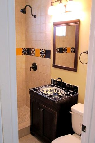 Mediterranean 3/4 Bathroom with no showerdoor, Shower, Moen Kingsley Single-Handle Shower Faucet Trim Kit in Wrought Iron