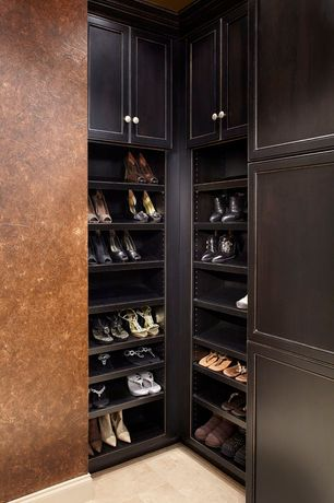 Contemporary Closet with interior wallpaper, Standard height, Built-in bookshelf, limestone floors, Crown molding