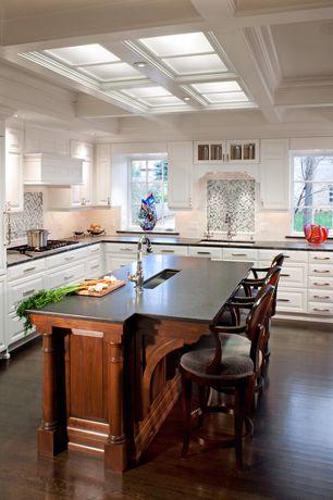 Traditional Kitchen with full backsplash, Subway Tile, Breakfast bar, Kitchen island, Flush, Crown molding, Glass panel