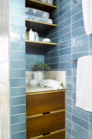 Contemporary Full Bathroom with Wall tile, Ceramic Tile, Earthenware elements rectangle field, Built in shelves
