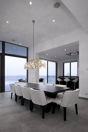 Dining Room with Chandelier, Transom window, Concrete tile