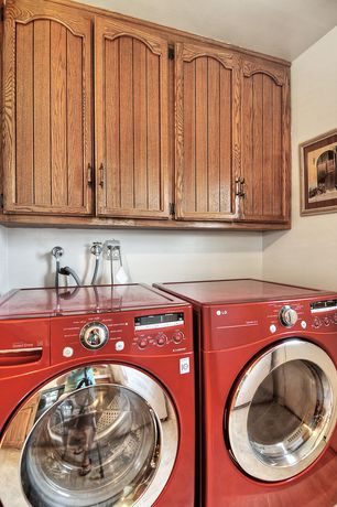 Traditional Laundry Room with Built-in bookshelf, Undermount sink