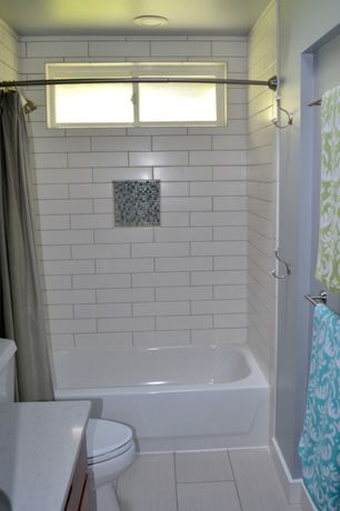 Traditional Full Bathroom with Complex marble counters, tiled wall showerbath, MS International Eramosa White Porcelain Tile