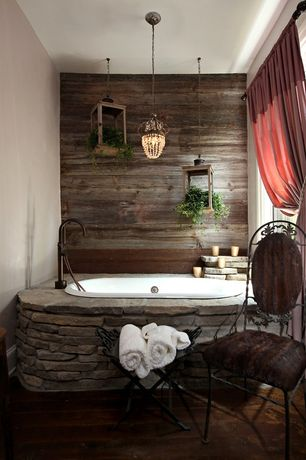 Rustic Full Bathroom with Stikwood adhesive wood paneling, Master bathroom, Paint 1, Hardwood floors, drop in bathtub