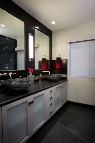 Contemporary Master Bathroom with Ronbow Vessel Bathroom Sink, Double sink, Flat panel cabinets, Glass panel door, Flush