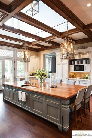 Traditional Kitchen with Hardwood floors, Breakfast bar, Wood counters, Inset cabinets, Kitchen island, Transom window
