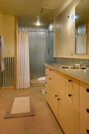 Modern 3/4 Bathroom with Corrugate metal shower surround, Design Within Reach Hinoki Bath Mat, Corrugated metal wainscoting