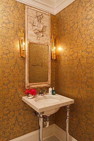 Traditional Powder Room with Console sink, interior wallpaper, 56 sq. ft. Antique Gold Kilim Damask Wallpaper, Crown molding