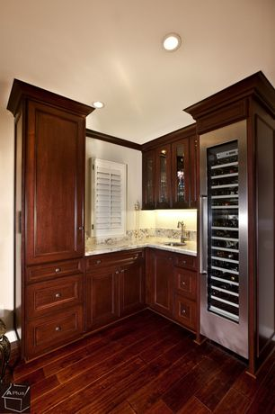 Traditional Bar with Hardwood floors, Built-in bookshelf, Summit SWC1545 80 Bottle Wine Cooler