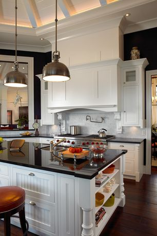 Traditional Kitchen with Custom hood, Inset cabinets, Flat panel cabinets, European Cabinets, Absolute black, Glass panel