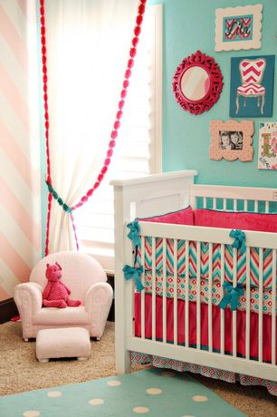 Eclectic Kids Bedroom with Land of Nod Lotsa Polka Dots Rug (Aqua), IMAX Finely Baroque Red Wall Mirror, Carpet