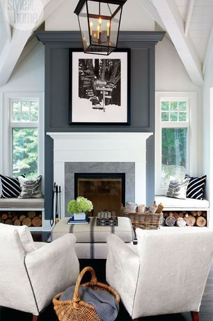 Cottage Living Room with Hardwood floors, Painted wood panel ceiling, Hudson Cornice Hanging Lantern, Pendant light