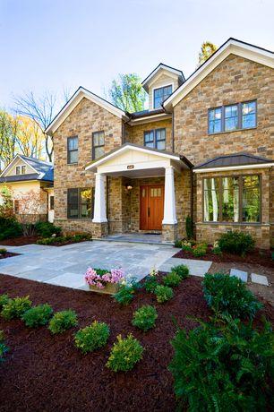 Craftsman Front Door with Glass panel door, Pathway, exterior stone floors